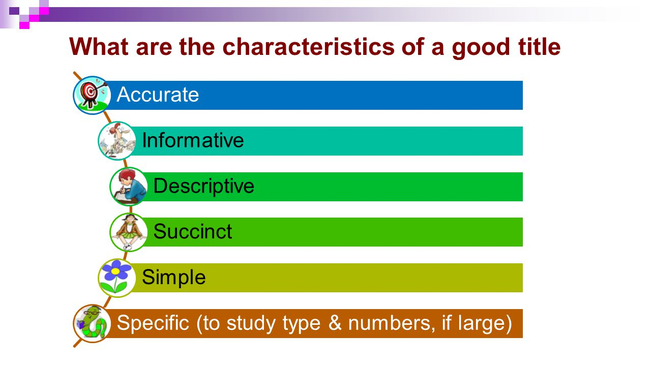 What are the characteristics of a good title Accurate Informative Descriptive Succinct Simple Specific (to study type & numbers, if large)