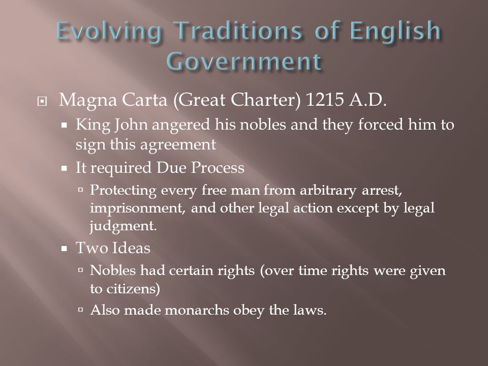  Magna Carta (Great Charter) 1215 A.D.