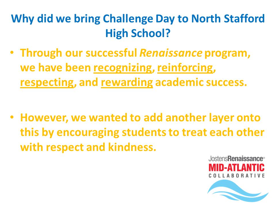 Background : What is Challenge Day all about? Creating a culture of acceptance and compassion Ending separation, isolation, and loneliness Encouraging