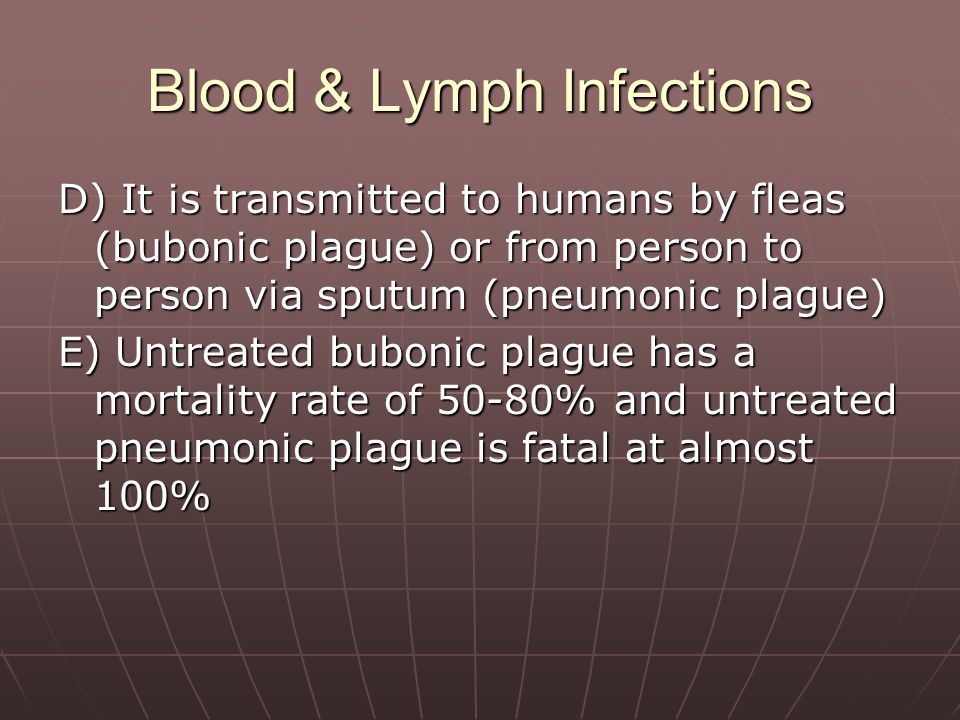 Blood & Lymph Infections D) It is transmitted to humans by fleas (bubonic plague) or from person to person via sputum (pneumonic plague) E) Untreated bubonic plague has a mortality rate of 50-80% and untreated pneumonic plague is fatal at almost 100%