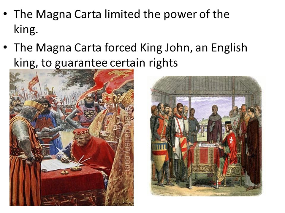 The Magna Carta limited the power of the king. The Magna Carta forced King John, an English king, to guarantee certain rights