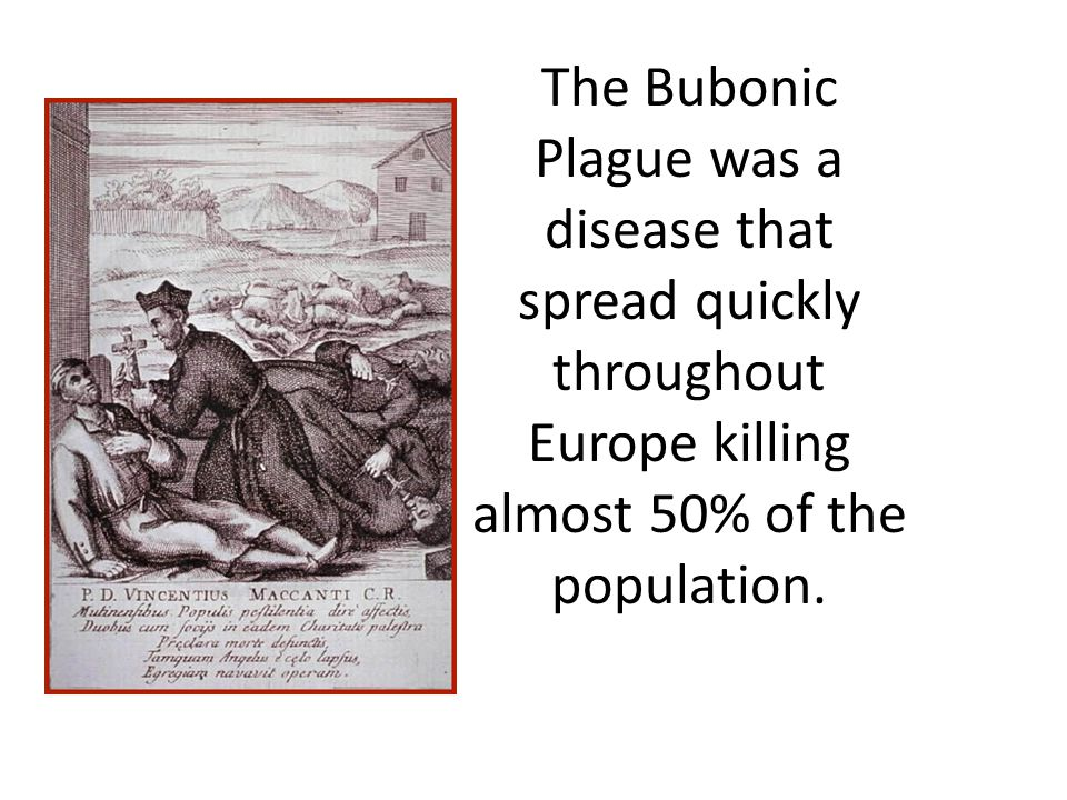 The Bubonic Plague was a disease that spread quickly throughout Europe killing almost 50% of the population.