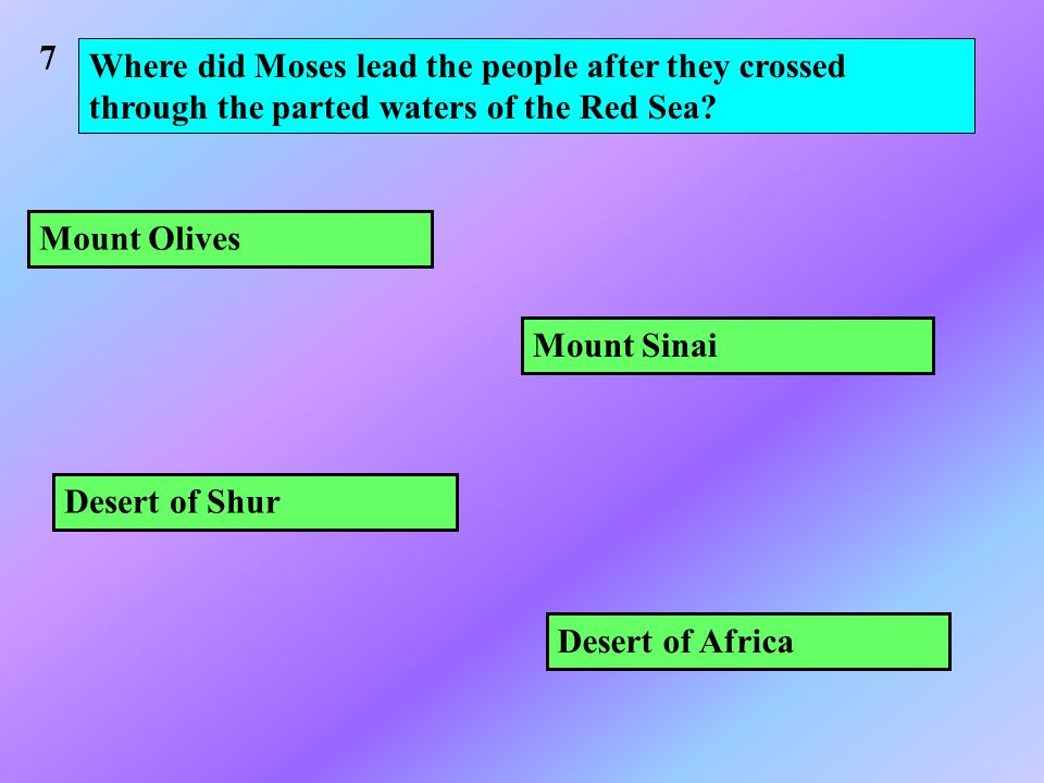 Where did Moses lead the people after they crossed through the parted waters of the Red Sea.