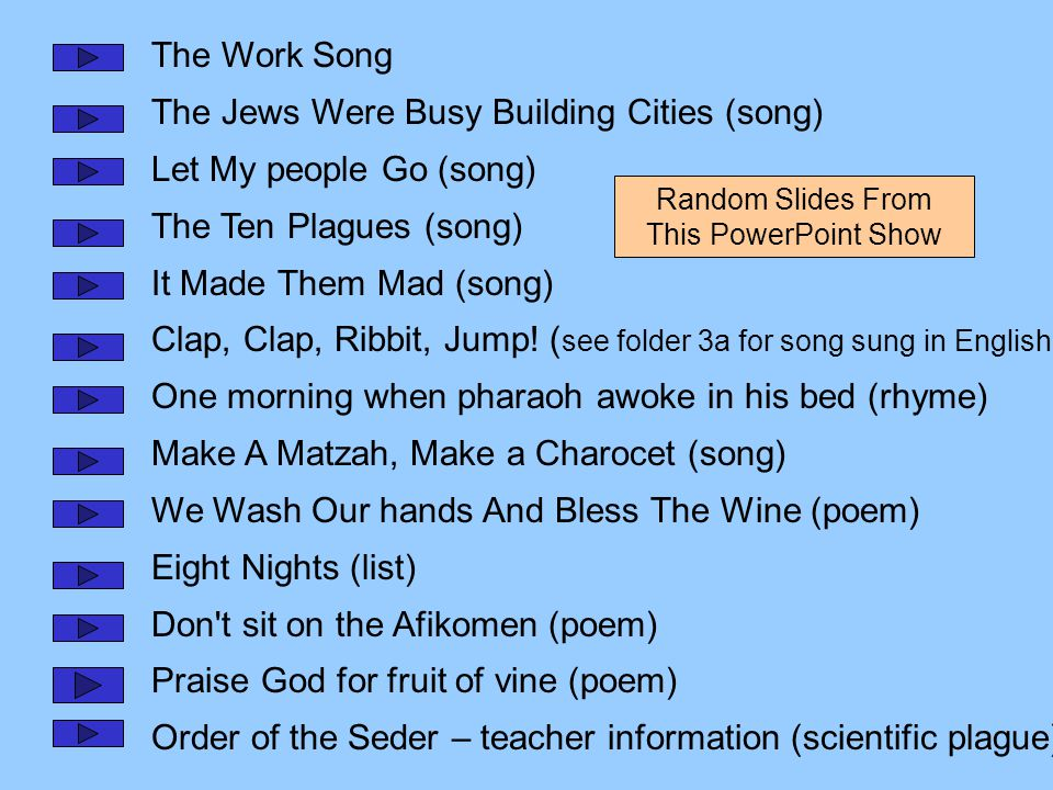 The Work Song The Jews Were Busy Building Cities (song) Let My people Go (song) The Ten Plagues (song) It Made Them Mad (song) Clap, Clap, Ribbit, Jump.