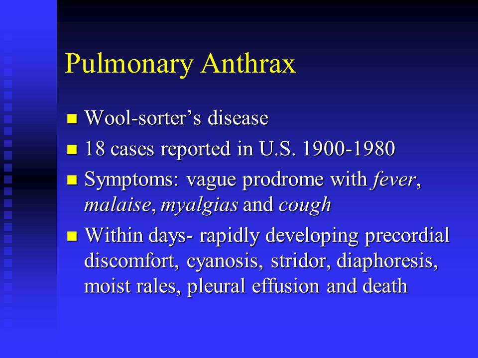 Pulmonary Anthrax Wool-sorter's disease Wool-sorter's disease 18 cases reported in U.S.