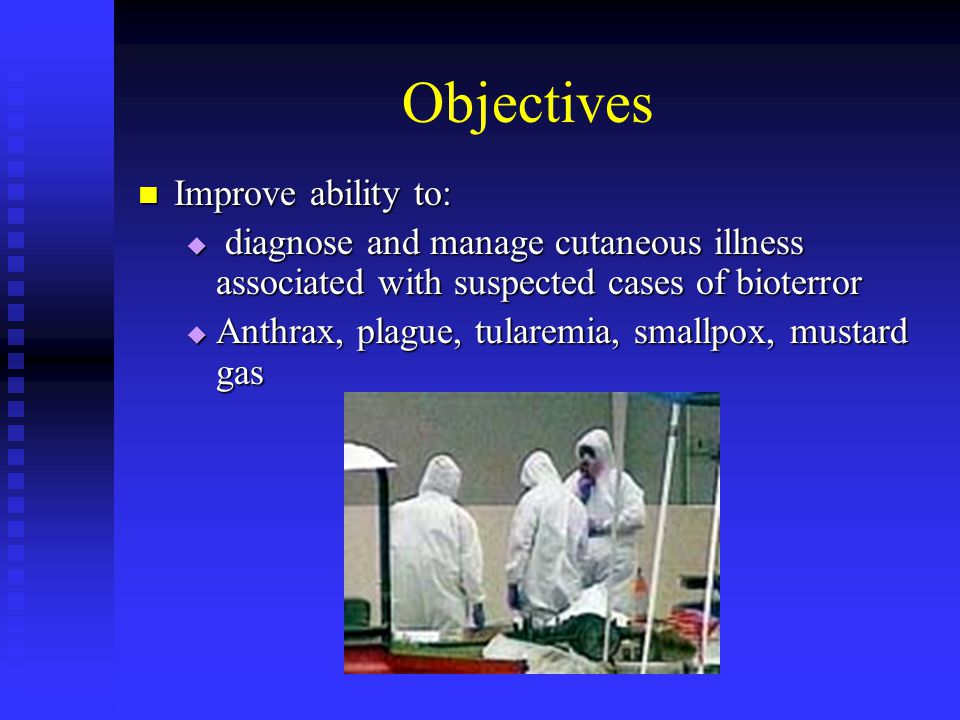 Treatments If suspected anthrax, begin appropriate tx If suspected anthrax, begin appropriate tx Tx regimen differs by symptomatology (systemic or localized), location (extremity vs head/neck), edema (extensive or not) Tx regimen differs by symptomatology (systemic or localized), location (extremity vs head/neck), edema (extensive or not) If systemic signs, head or neck location, or extensive edema, IV therapy indicated If systemic signs, head or neck location, or extensive edema, IV therapy indicated