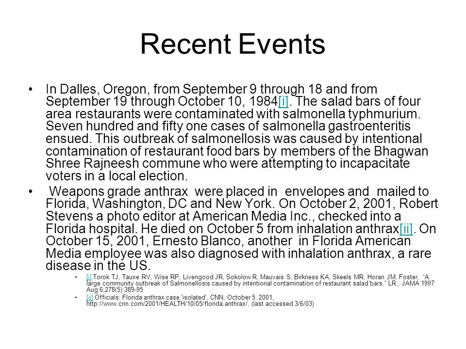 Recent Events In Dalles, Oregon, from September 9 through 18 and from September 19 through October 10, 1984[i]. The salad bars of four area restaurant
