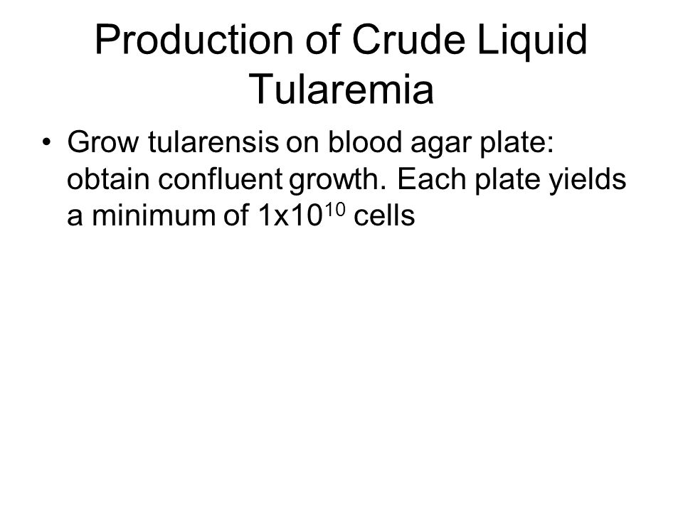 Production of Crude Liquid Tularemia Grow tularensis on blood agar plate: obtain confluent growth. Each plate yields a minimum of 1x10 10 cells