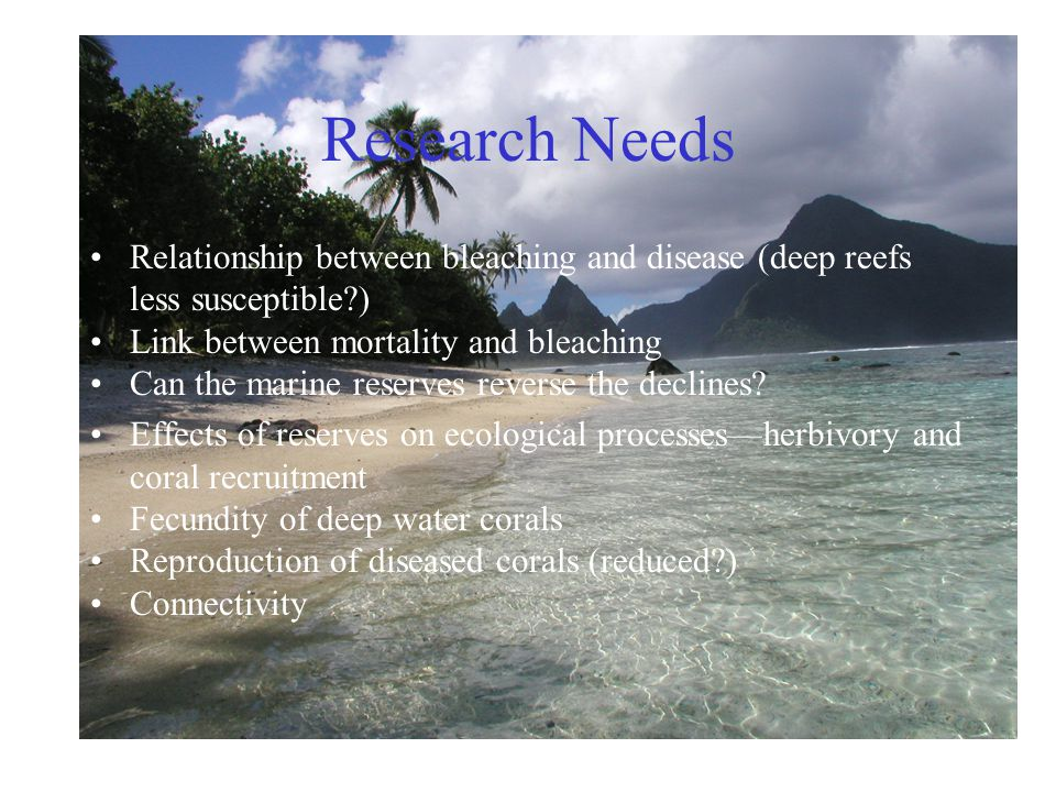 Research Needs Relationship between bleaching and disease (deep reefs less susceptible?) Link between mortality and bleaching Can the marine reserves reverse the declines.