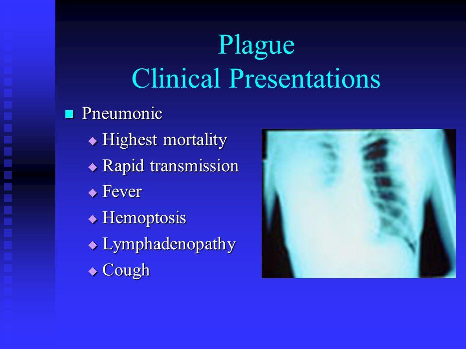 Plague Clinical Presentations Pneumonic Pneumonic  Highest mortality  Rapid transmission  Fever  Hemoptosis  Lymphadenopathy  Cough