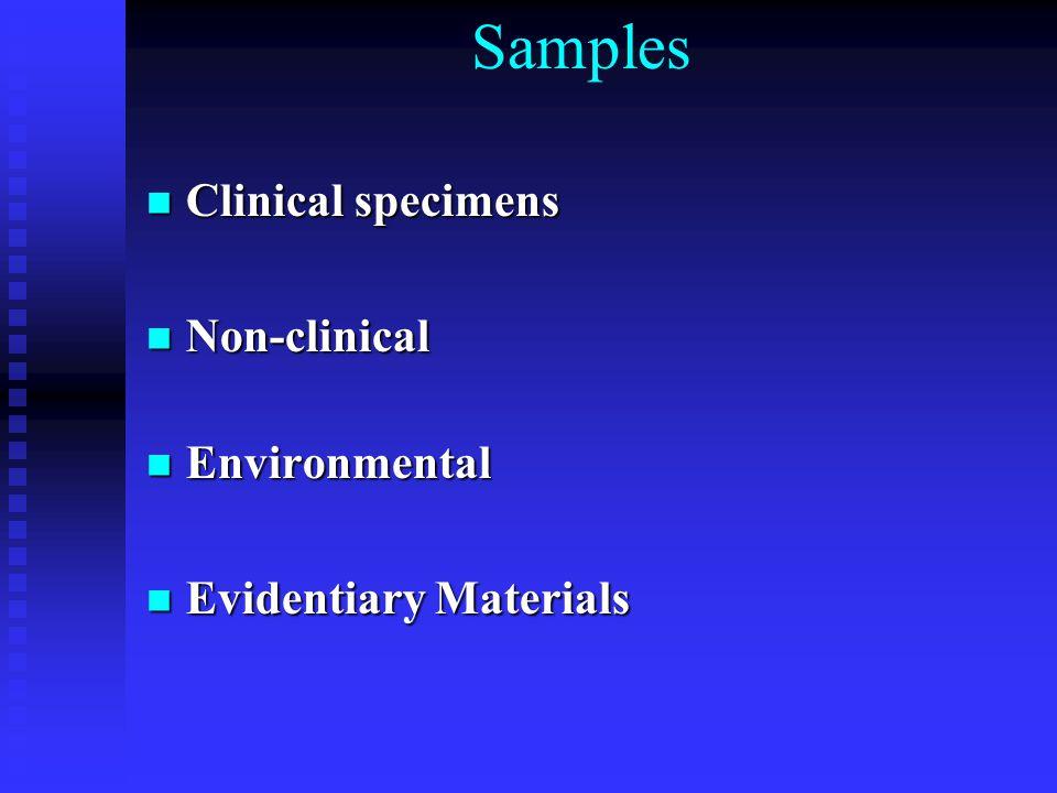 Samples Clinical specimens Clinical specimens Non-clinical Non-clinical Environmental Environmental Evidentiary Materials Evidentiary Materials