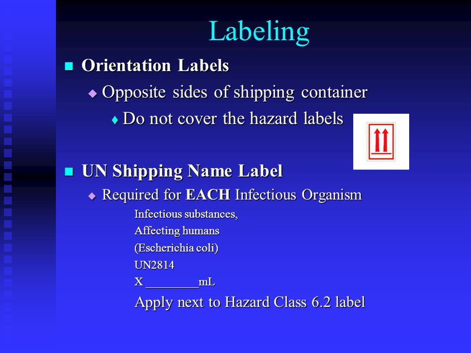Labeling Orientation Labels Orientation Labels  Opposite sides of shipping container  Do not cover the hazard labels UN Shipping Name Label UN Shipping Name Label  Required for EACH Infectious Organism Infectious substances, Affecting humans (Escherichia coli) UN2814 X _________mL Apply next to Hazard Class 6.2 label
