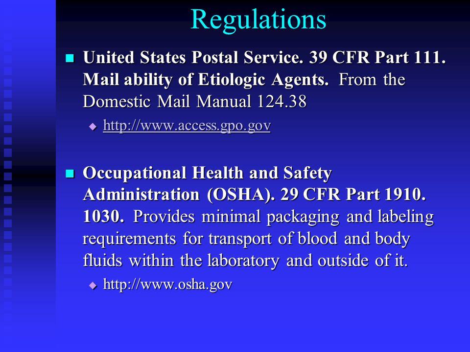 Regulations United States Postal Service. 39 CFR Part 111.