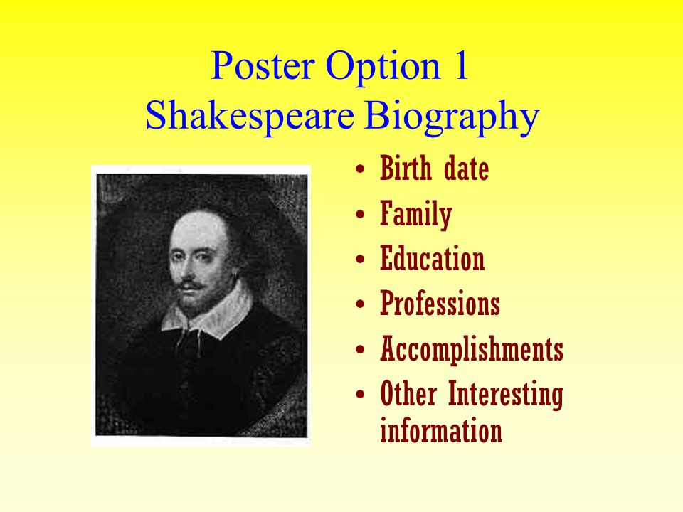 Poster Option 1 Shakespeare Biography Birth date Family Education Professions Accomplishments Other Interesting information