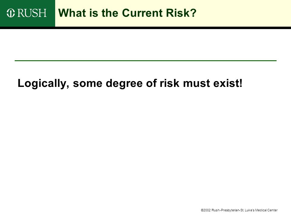 ©2002 Rush-Presbyterian-St. Luke's Medical Center What is the Current Risk.