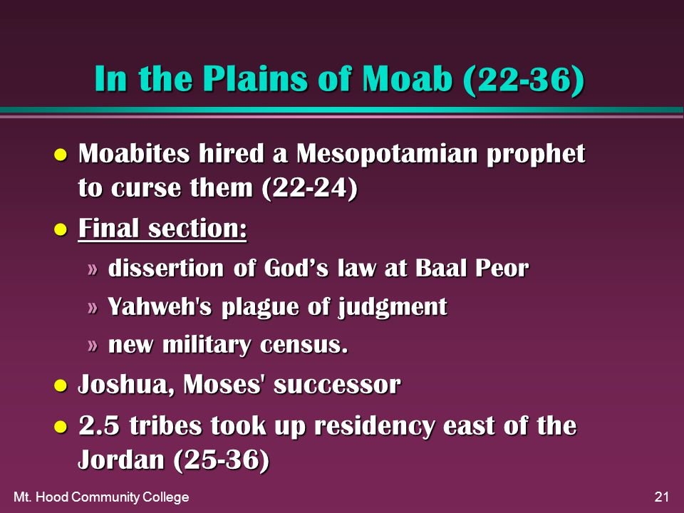 Mt. Hood Community College21 In the Plains of Moab ( 22-36 ) l Moabites hired a Mesopotamian prophet to curse them (22-24) l Final section: »dissertio