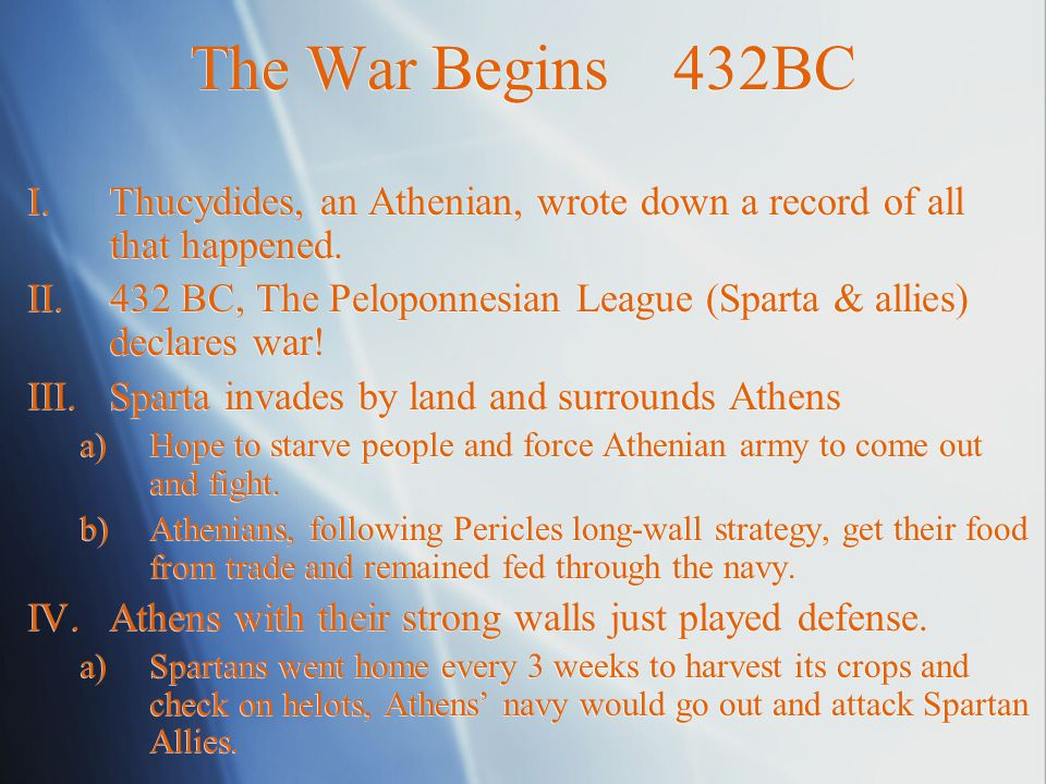 Causes 460s- 450s BC I.Underlying a)Sparta was worried over Athens growing military and political power.