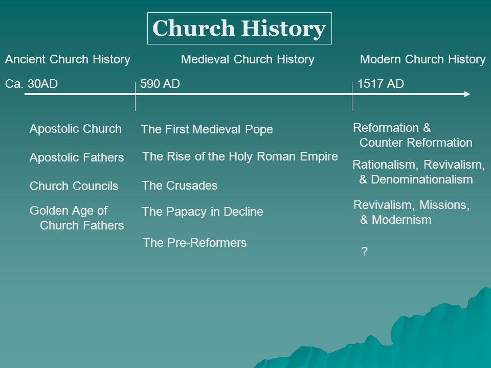 Apostolic Church Apostolic Fathers Church Councils Church History Ca. 30AD590 AD1517 AD Golden Age of Church Fathers Reformation & Counter Reformation