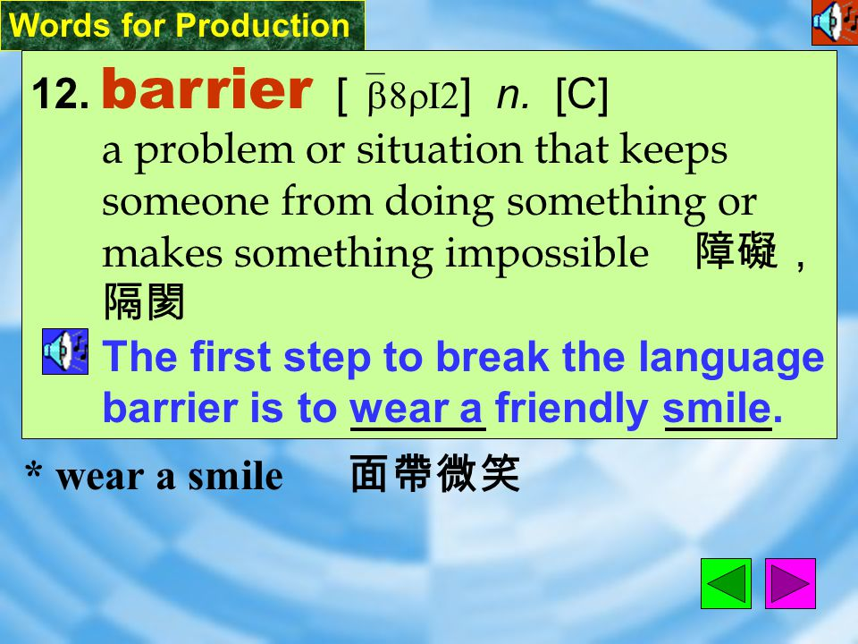 Words for Production 11. overhear [ &ov2`hIr ] vt.