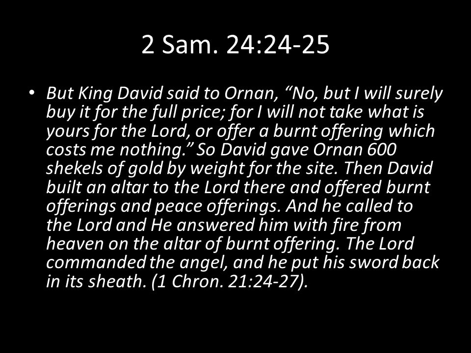 Postscript At that time, when David saw that the Lord had answered him on the threshing floor of Ornan the Jebusite, he offered sacrifice there.