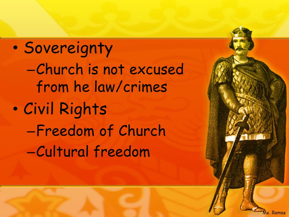 Sovereignty – Church is not excused from he law/crimes Civil Rights – Freedom of Church – Cultural freedom Ms.