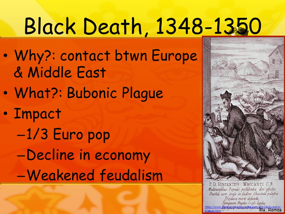 Black Death, 1348-1350 Why : contact btwn Europe & Middle East What : Bubonic Plague Impact – 1/3 Euro pop – Decline in economy – Weakened feudalism http://www.paranormalknowledge.com/articles/bubonic- plague.html Ms.