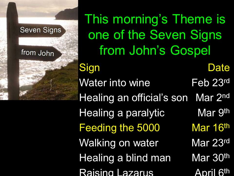 SignDate Water into wine Feb 23 rd Healing an official's son Mar 2 nd Healing a paralyticMar 9 th Feeding the 5000Mar 16 th Walking on waterMar 23 rd
