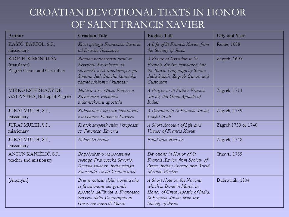 CROATIAN DEVOTIONAL TEXTS IN HONOR OF SAINT FRANCIS XAVIER AuthorCroatian TitleEnglish TitleCity and Year KAŠIĆ, BARTOL.