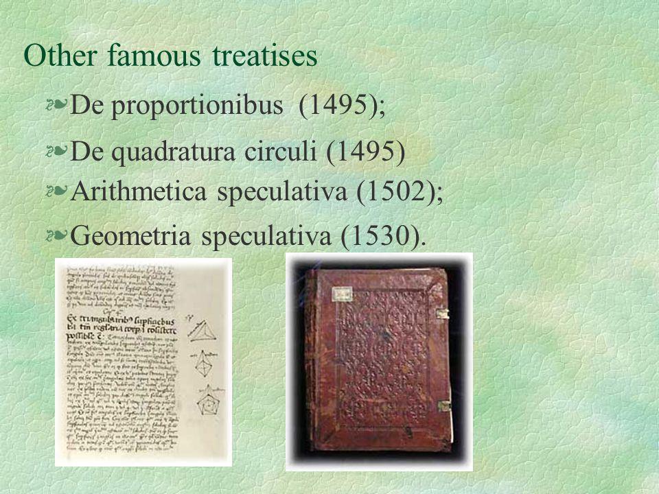 Other famous treatises §De proportionibus (1495); §De quadratura circuli (1495) §Arithmetica speculativa (1502); §Geometria speculativa (1530).