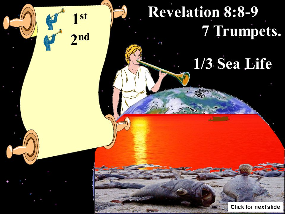 Revelation 8:7 7 Trumpets. 1/3 Trees 1 st Click for next slide