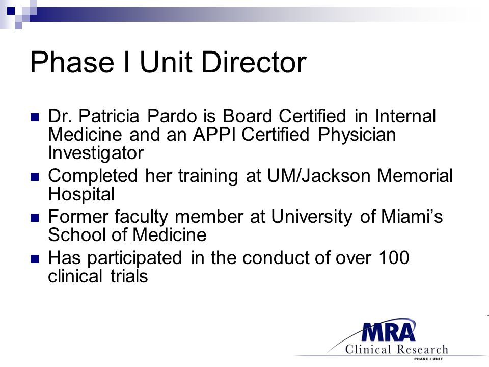 Phase I Unit Director Dr.