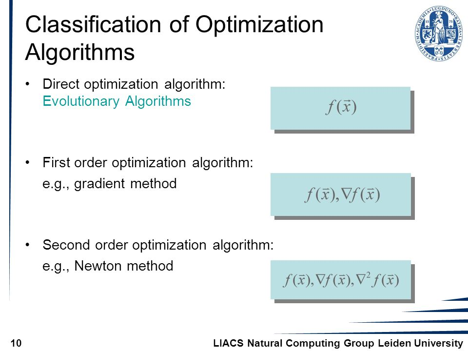 LIACS Natural Computing Group Leiden University10 Classification of Optimization Algorithms Direct optimization algorithm: Evolutionary Algorithms First order optimization algorithm: e.g., gradient method Second order optimization algorithm: e.g., Newton method