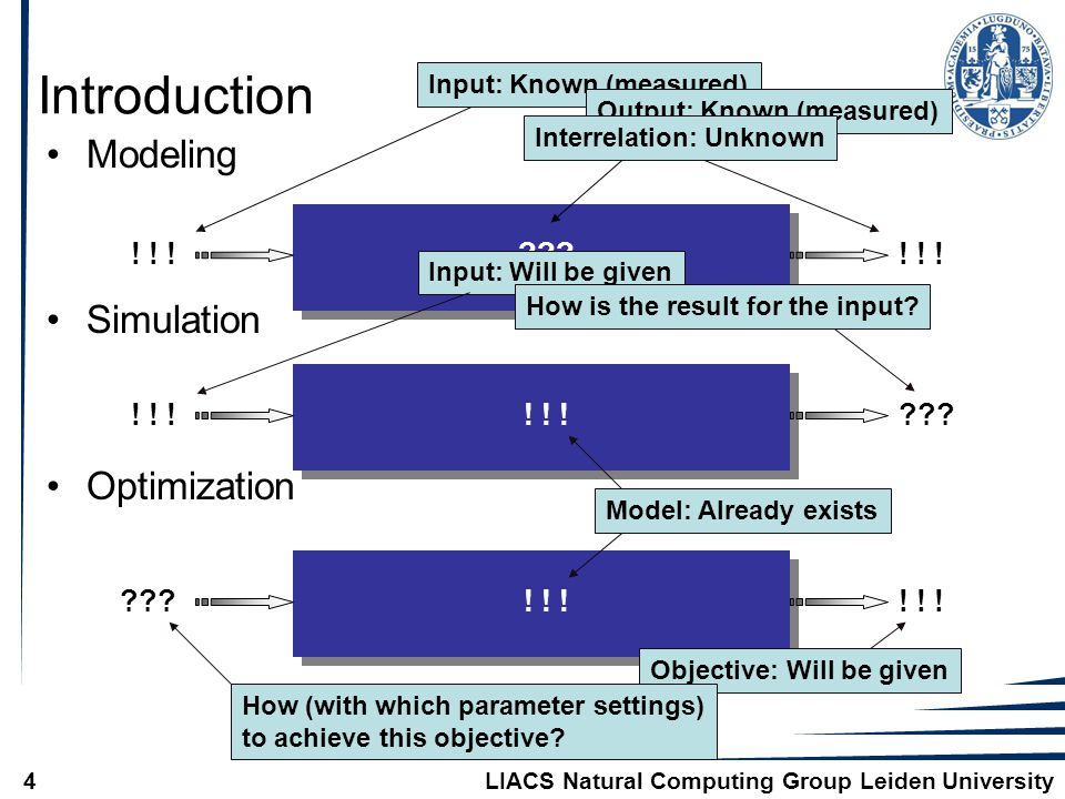 LIACS Natural Computing Group Leiden University4 Introduction Modeling Simulation Optimization .