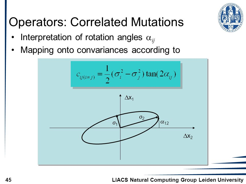 LIACS Natural Computing Group Leiden University45 Operators: Correlated Mutations Interpretation of rotation angles  ij Mapping onto convariances according to x1x1 x2x2 11 22  12