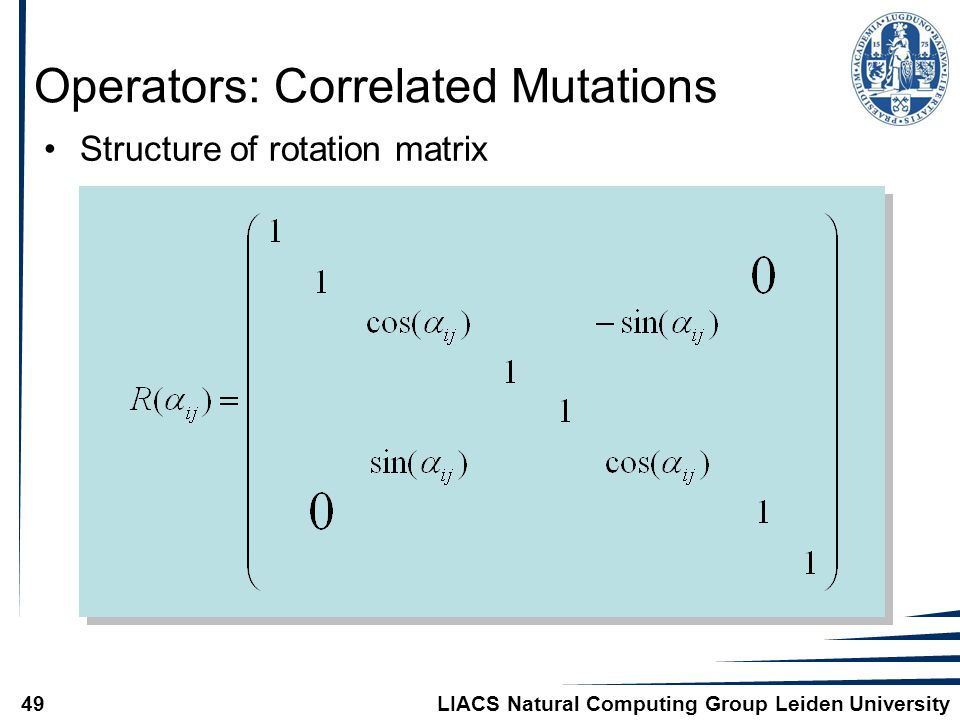 LIACS Natural Computing Group Leiden University49 Operators: Correlated Mutations Structure of rotation matrix