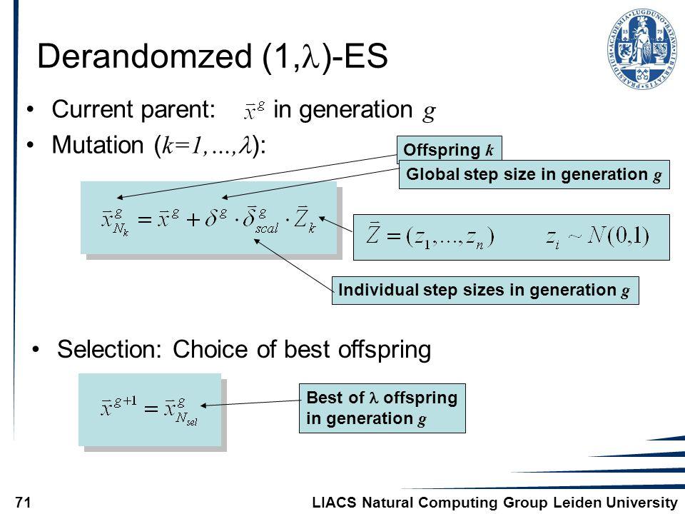 LIACS Natural Computing Group Leiden University71 Derandomzed (1, )-ES Current parent: in generation g Mutation ( k=1,…, ): Offspring k Global step size in generation g Individual step sizes in generation g Selection: Choice of best offspring Best of offspring in generation g