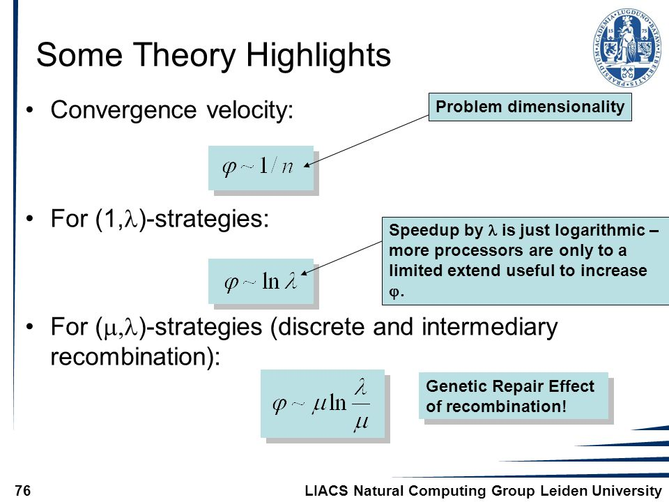 LIACS Natural Computing Group Leiden University76 Some Theory Highlights Convergence velocity: For (1, )-strategies: For (  )-strategies (discrete a