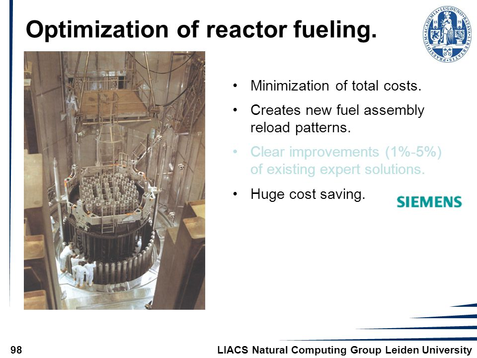 LIACS Natural Computing Group Leiden University98 Optimization of reactor fueling. Minimization of total costs. Creates new fuel assembly reload patte