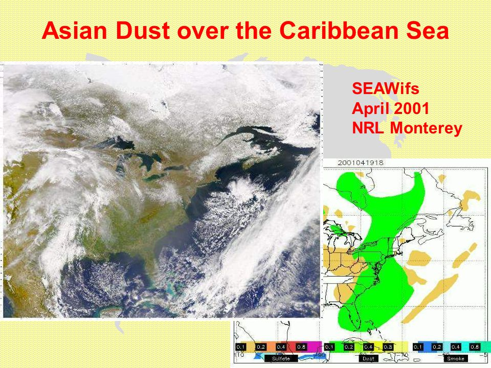 Asian Dust over the Caribbean Sea SEAWifs April 2001 NRL Monterey