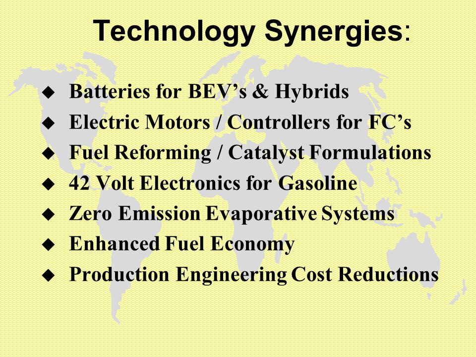Technology Synergies: u Batteries for BEV's & Hybrids u Electric Motors / Controllers for FC's u Fuel Reforming / Catalyst Formulations u 42 Volt Electronics for Gasoline u Zero Emission Evaporative Systems u Enhanced Fuel Economy u Production Engineering Cost Reductions