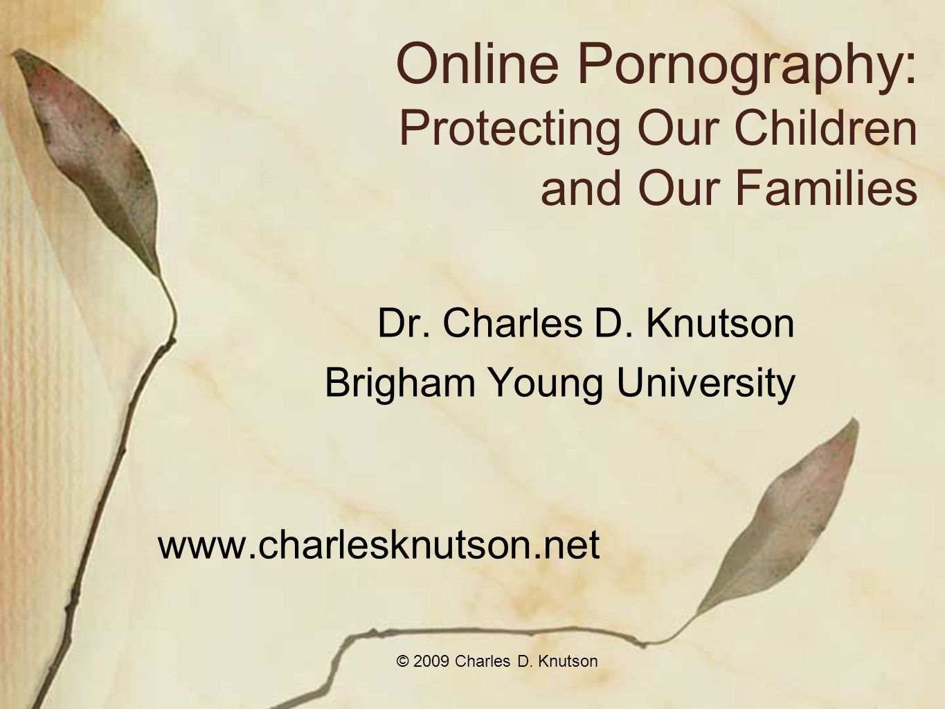 © 2009 Charles D. Knutson Online Pornography: Protecting Our Children and Our Families Dr.