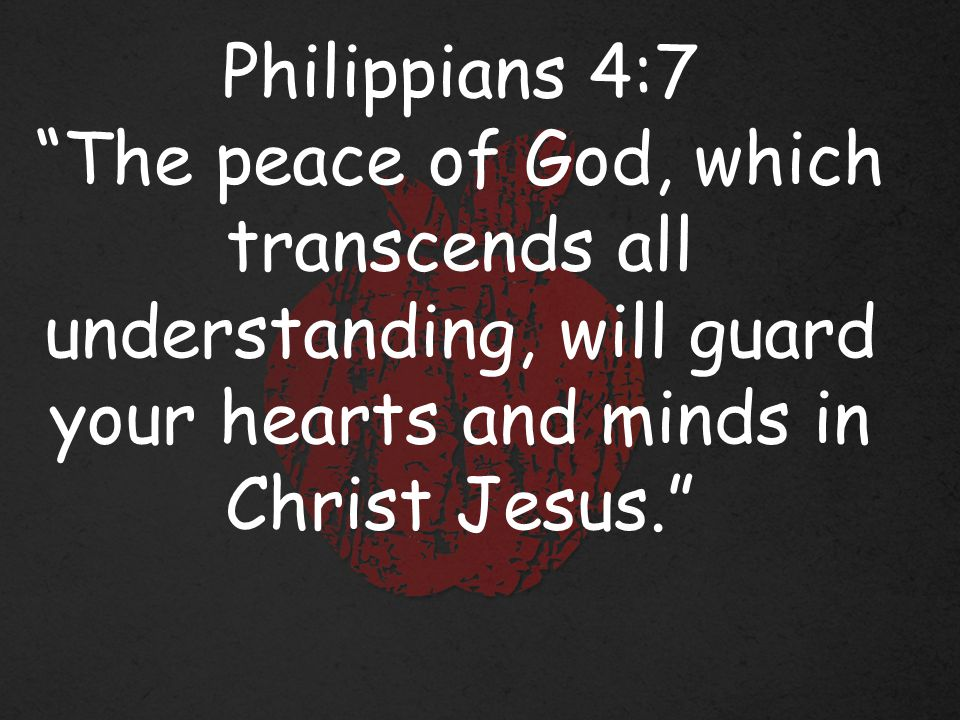 Philippians 4:7 The peace of God, which transcends all understanding, will guard your hearts and minds in Christ Jesus.