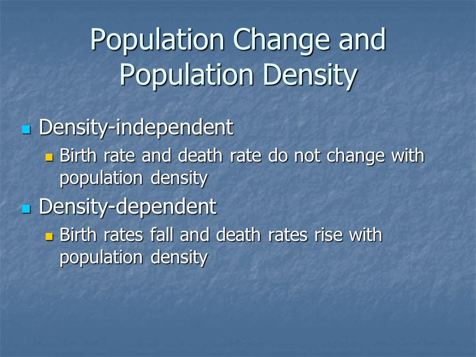Population Change and Population Density Density-independent Density-independent Birth rate and death rate do not change with population density Birth