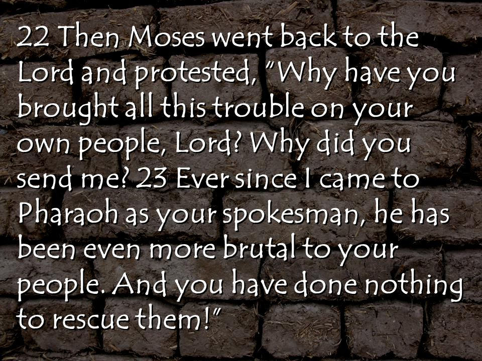 22 Then Moses went back to the Lord and protested, Why have you brought all this trouble on your own people, Lord.
