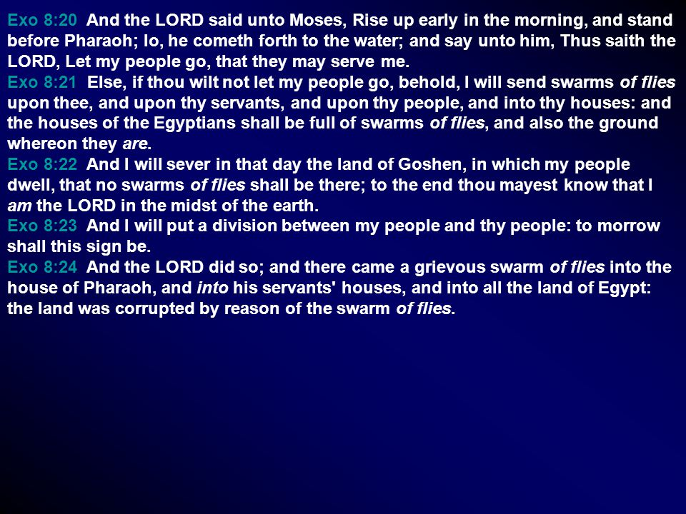 Exo 8:20 And the LORD said unto Moses, Rise up early in the morning, and stand before Pharaoh; lo, he cometh forth to the water; and say unto him, Thus saith the LORD, Let my people go, that they may serve me.