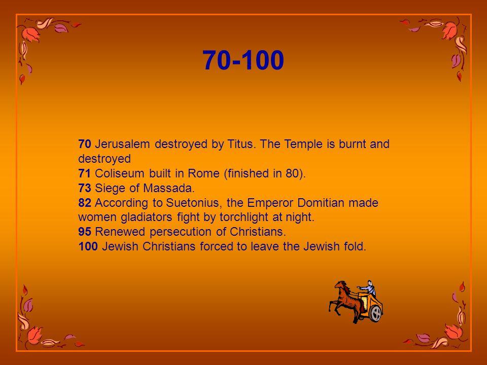 70 Jerusalem destroyed by Titus.