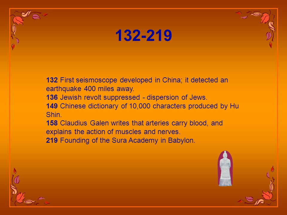 132 First seismoscope developed in China; it detected an earthquake 400 miles away.
