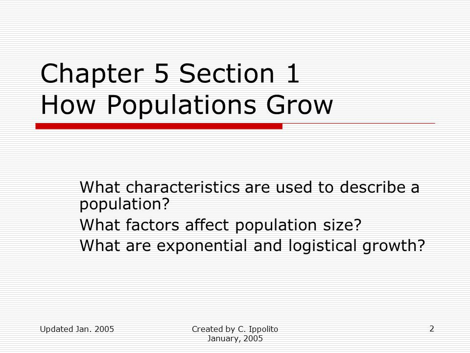 Updated Jan. 2005Created by C. Ippolito January, 2005 Chapter 5 Populations Pages 119 - 137 1