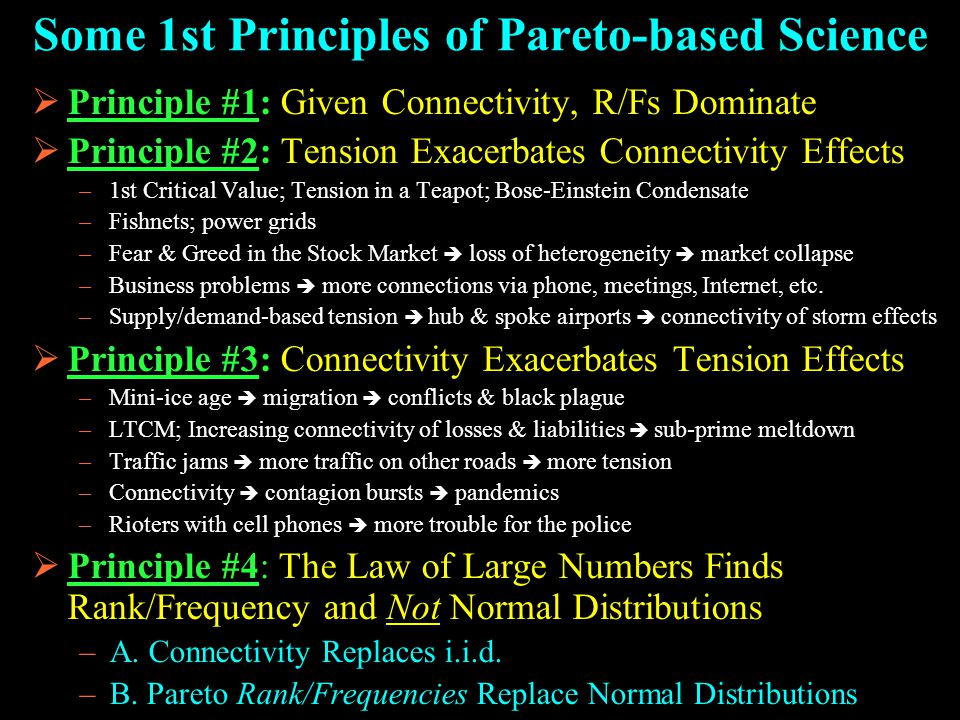 Some 1st Principles of Pareto-based Science  Principle #1: Given Connectivity, R/Fs Dominate  Principle #2: Tension Exacerbates Connectivity Effects –1st Critical Value; Tension in a Teapot; Bose-Einstein Condensate –Fishnets; power grids –Fear & Greed in the Stock Market  loss of heterogeneity  market collapse –Business problems  more connections via phone, meetings, Internet, etc.