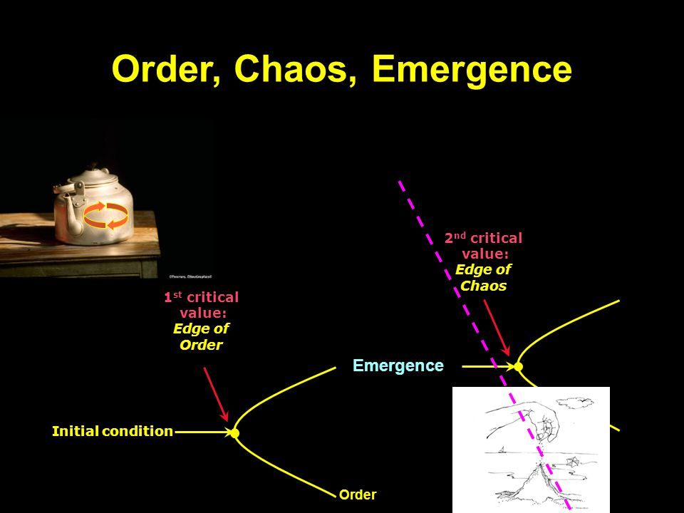 Order, Chaos, Emergence Initial condition 1 st critical value: Edge of Order Order Emergence 2 nd critical value: Edge of Chaos